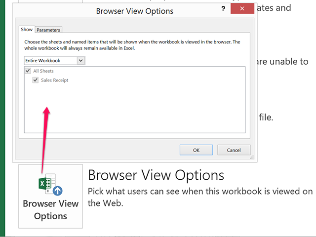 Browser View Options.