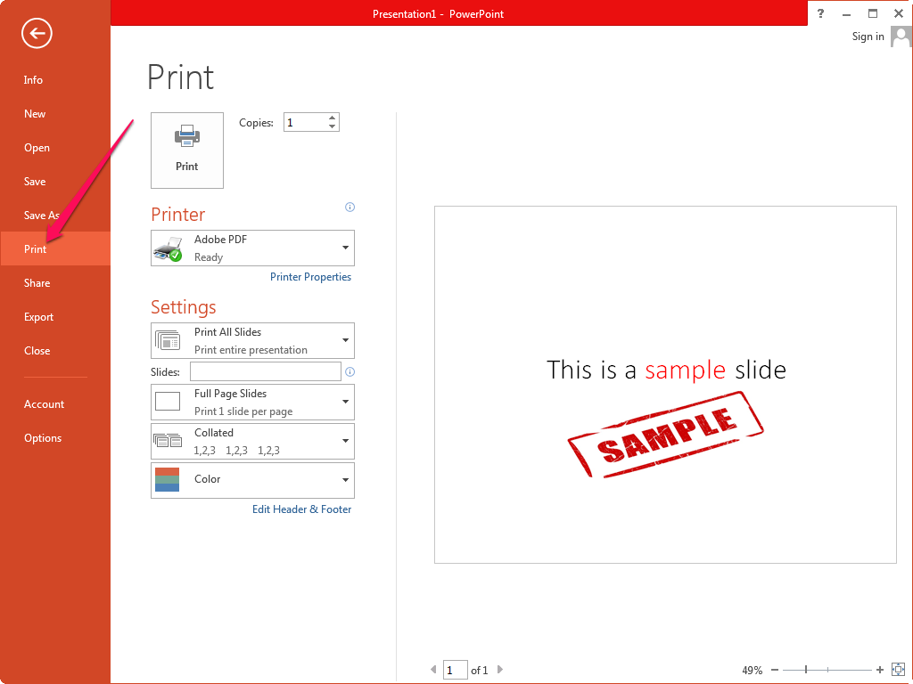Viewing the print preview in PowerPoint.