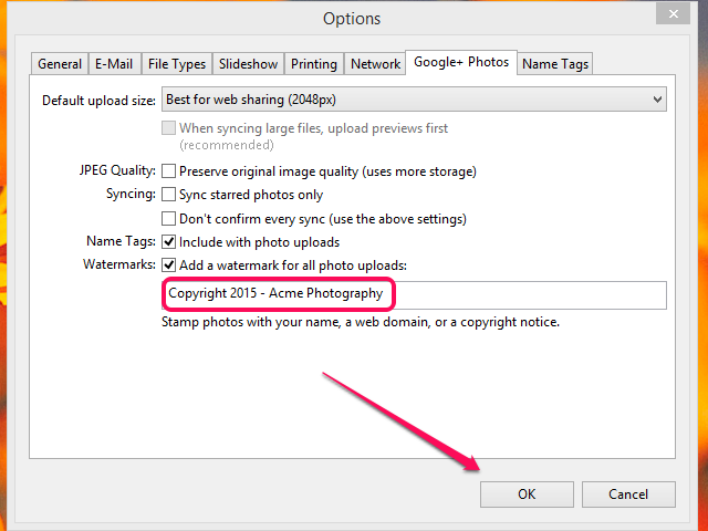 Enter your custom watermark and click OK.