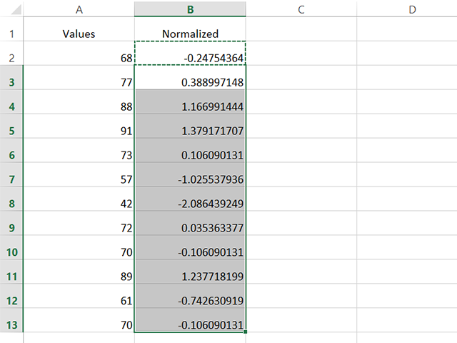 Copy and paste the formula to calculate the rest of the normalized values.