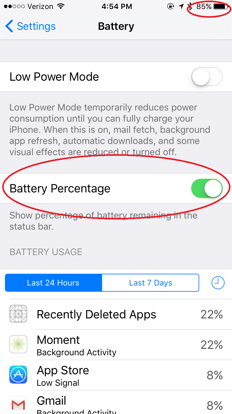 battery percentage toggle