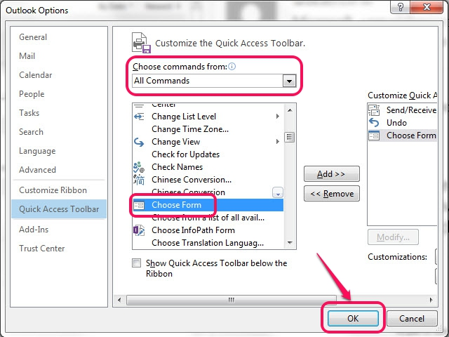 Use the Add and Remove buttons to add or remove commands from the Quick Access Toolbar.