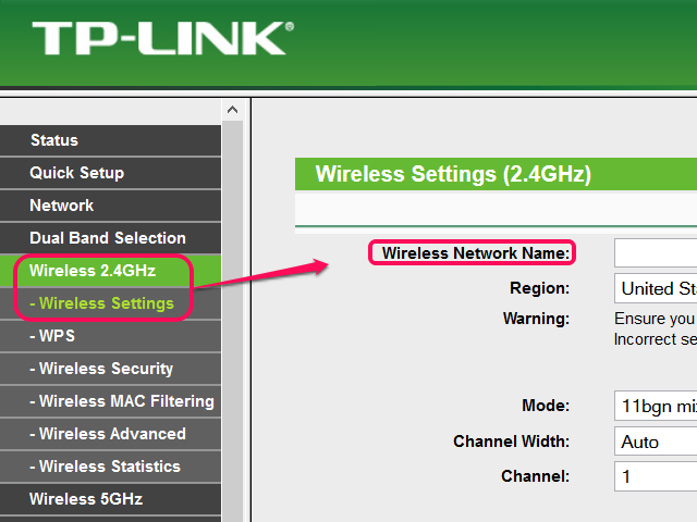 SSID on TP-LINK router