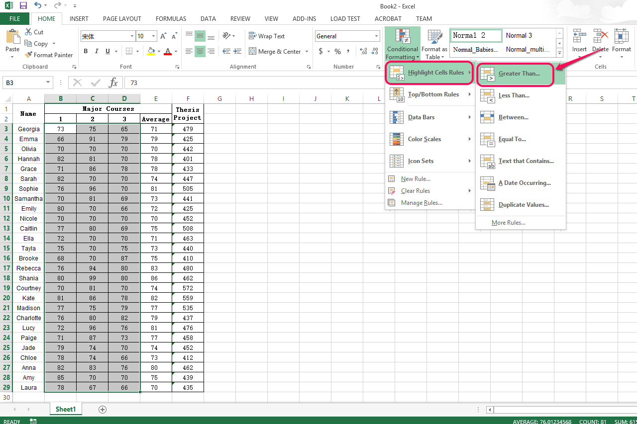 How to Set a Rule in Excel
