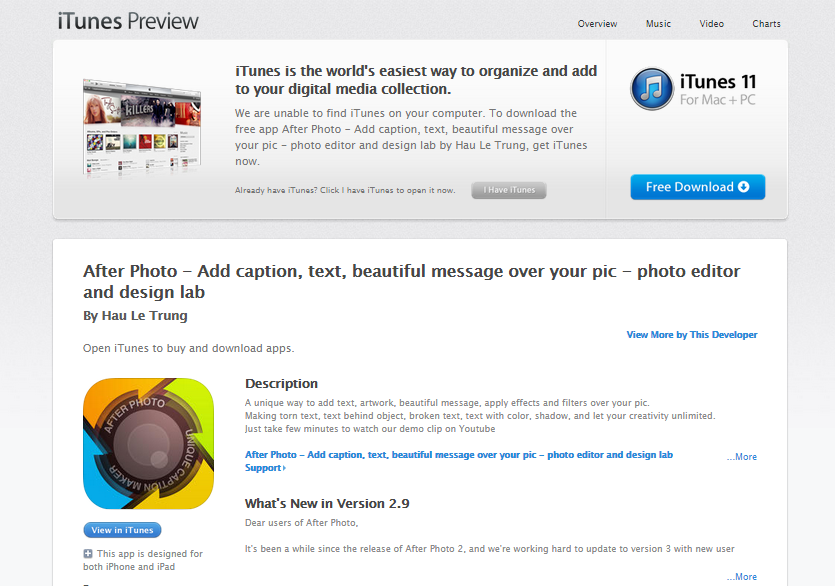 After Photo in the iTunes App Store