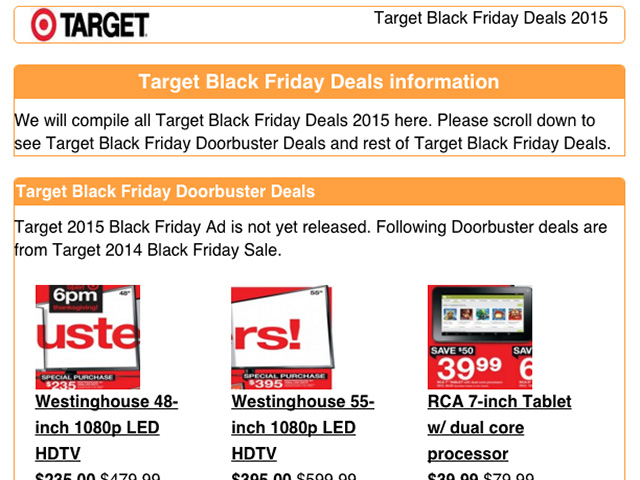 This 2014 example is what Target's doorbuster deal page will look like. Stay tuned.
