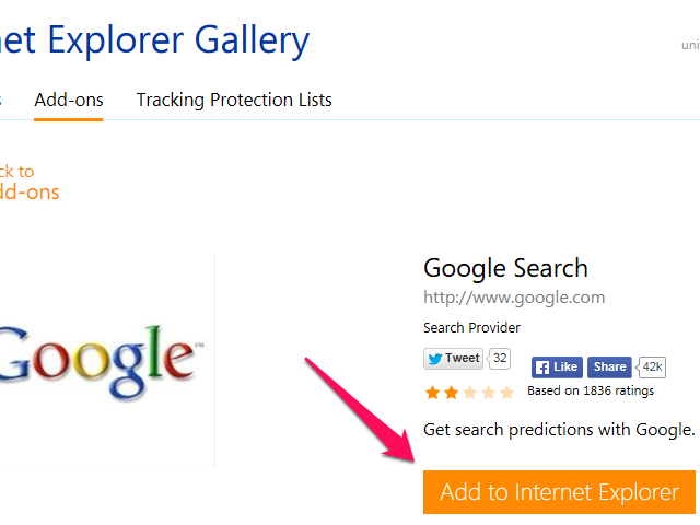 Google Search add-on details with Add to Internet Explorer button highlighted.
