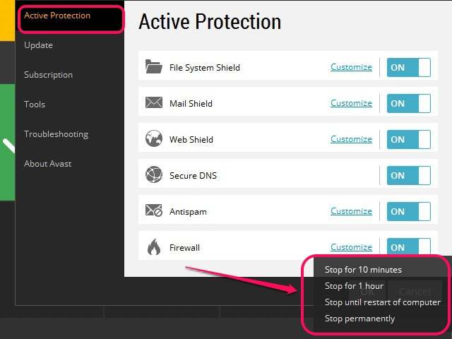 avast online secury how to add exeption