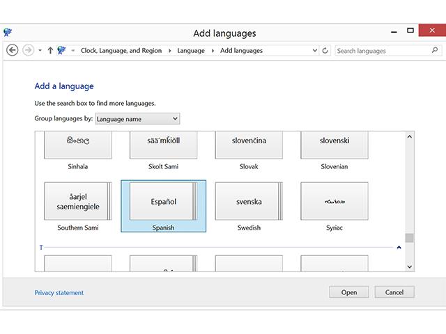 Add Languages window