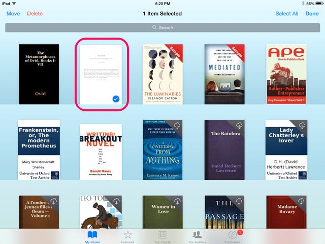 Select one or more books to delete.