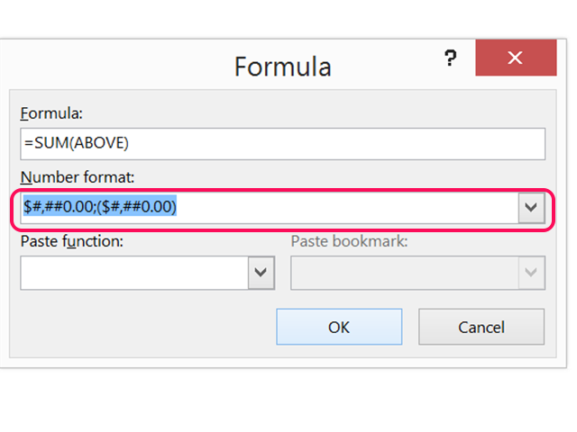Select Number Format option with two decimals.