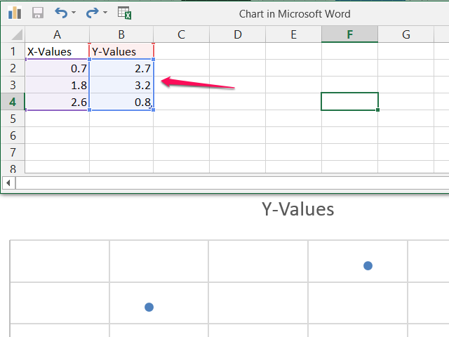 Sample scatter plot spreadsheet.