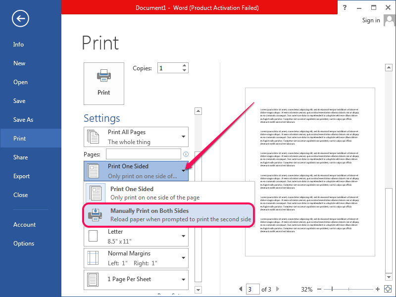 Selecting to print on both sides of the paper in Word.