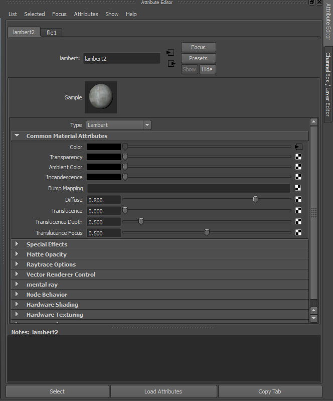 This is where the material settings are adjusted.