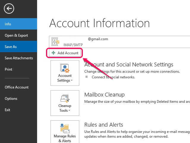 Click the Account Settings button to access your email account settings.