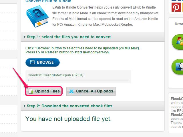 Click Upload Files.