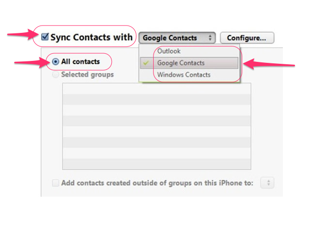 Select your contacts.