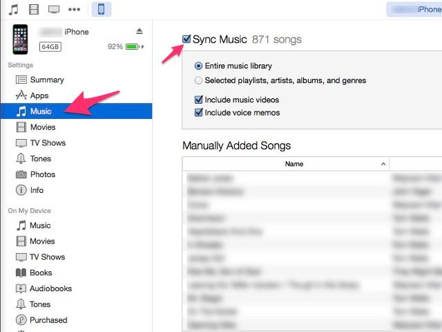 Sync music options