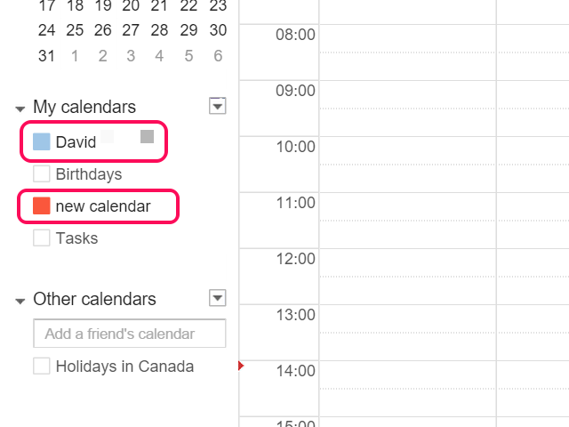 Colored selection boxes indicate which calendars are visible.