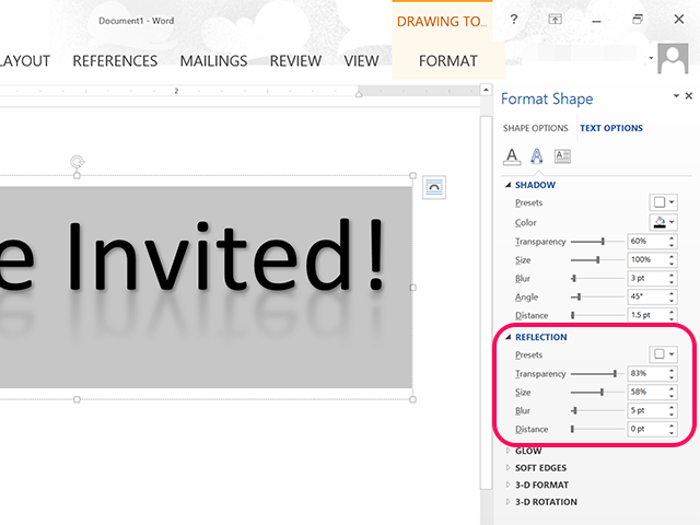 A semi-transparent reflection is added to this invitation title.