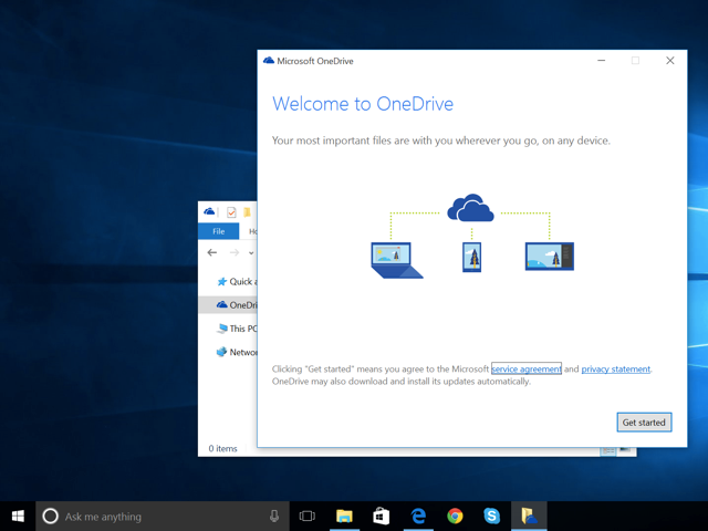 OneDrive setup on Windows 10.