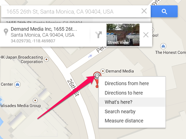 GPS coordinates for Demand Media in Santa Monica, CA.