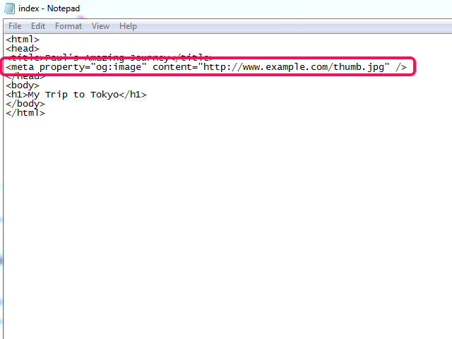 HTML file with Open Graph meta property image tag circled.