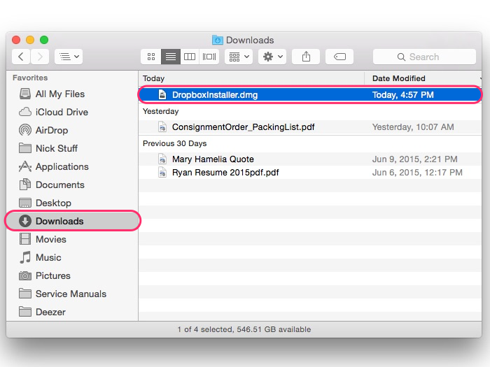 Locating the Dropbox install file
