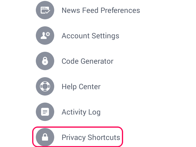 Select Privacy Shortcuts.