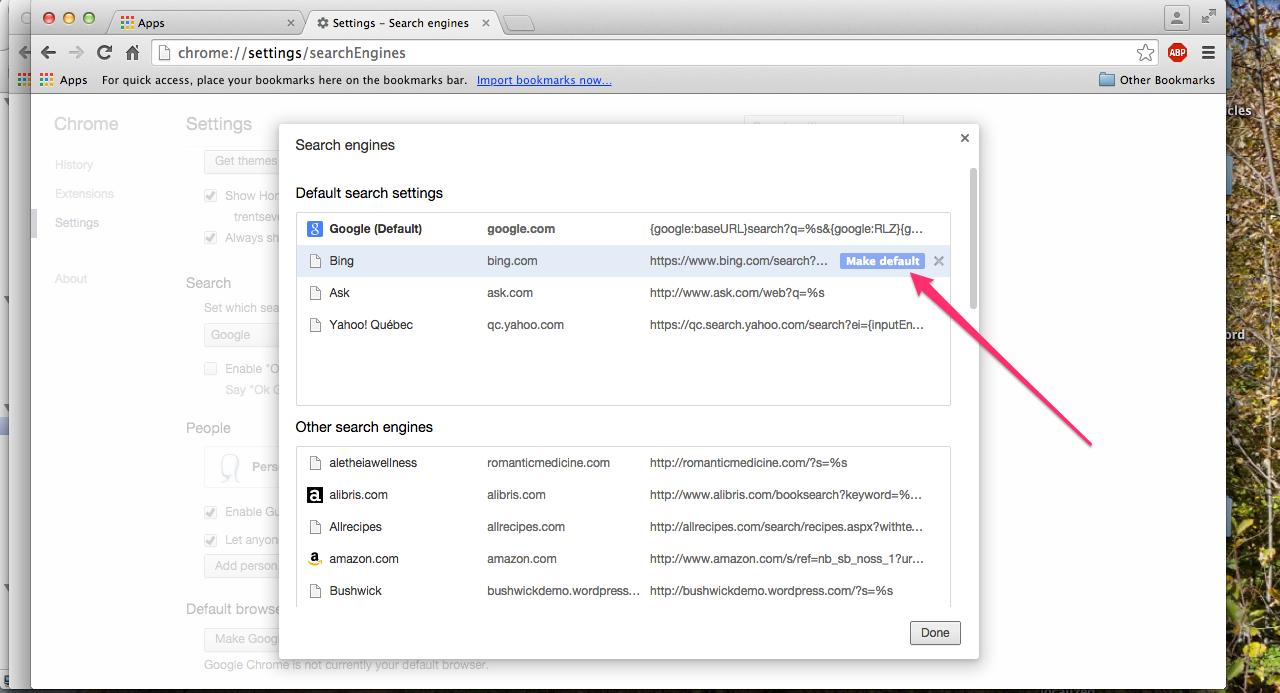 How do I change my Google Chrome search settings