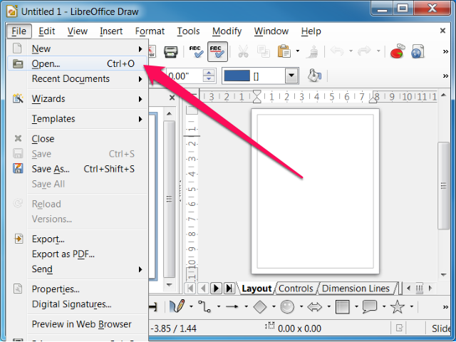 Select Open from the File menu.