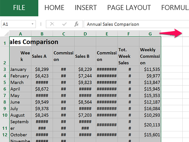 adjusting column sizes