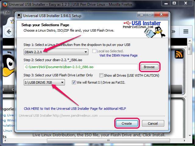 Selecting the DBAN settings and creating the bootable USB drive.