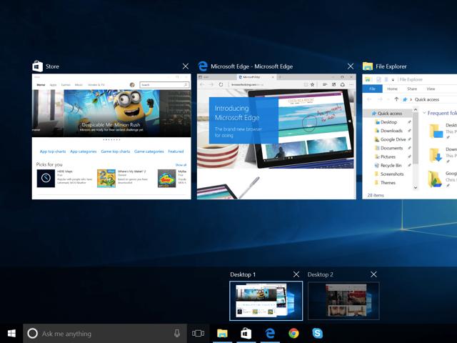 Task View on Windows 10.