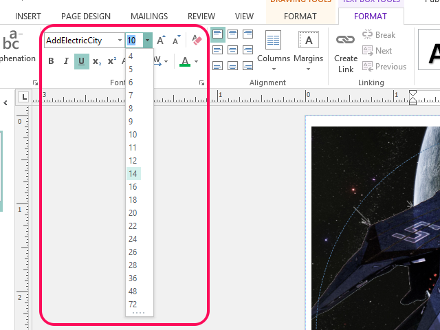 Use the text and toolbar menus to change the text's properties.