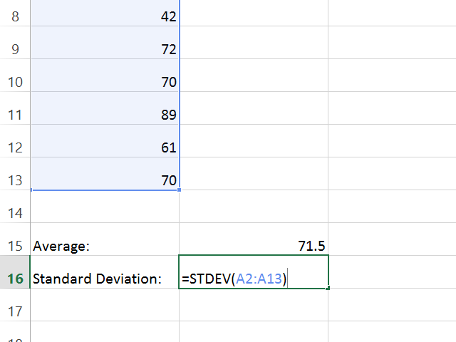 Calculate the set's standard deviation.