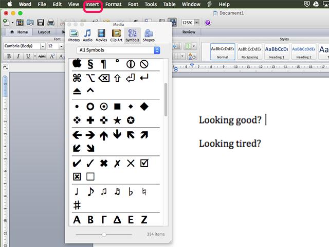 Word offers three check mark symbols.