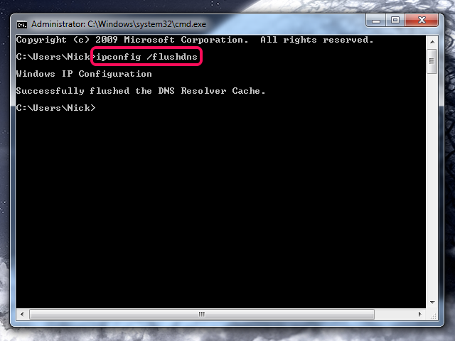 Flushing the DNS in Windows.