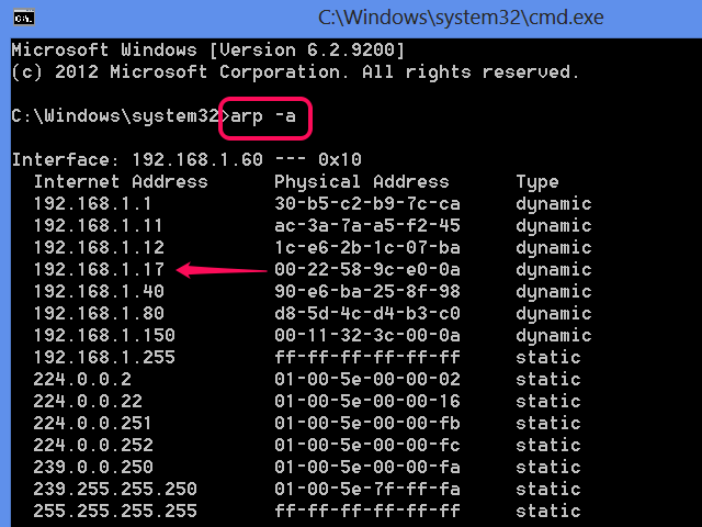 IPs in the Address Resolution Protocol cache.