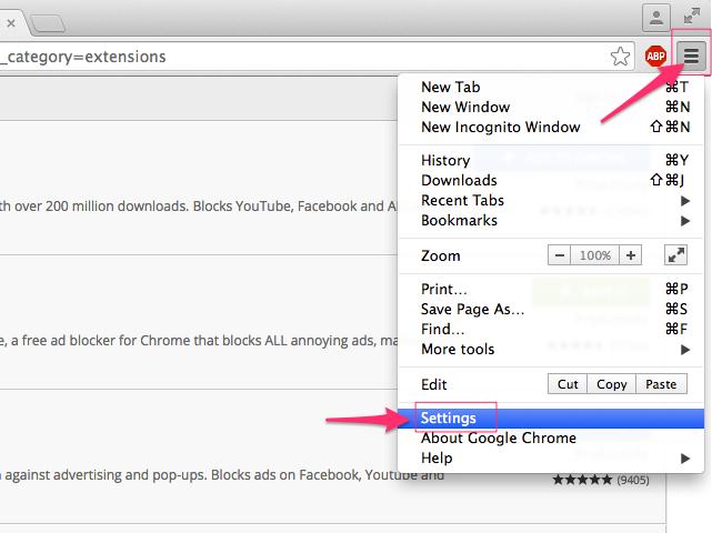 Chrome menu (Chrome)