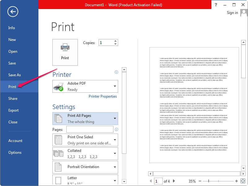 Selecting Print from the File menu in Microsoft Word.