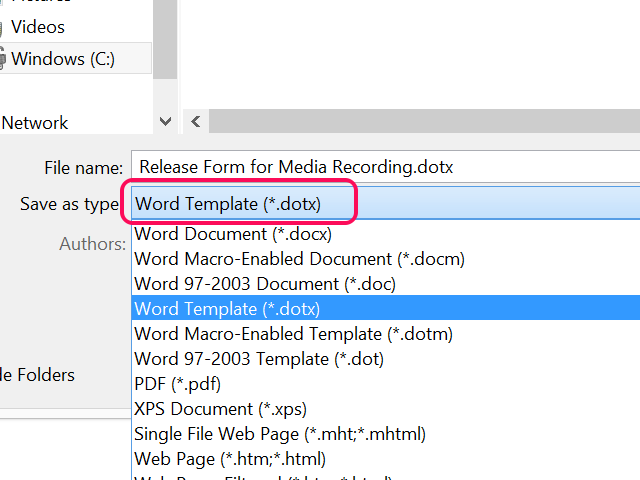 Save the file in DOTX format.
