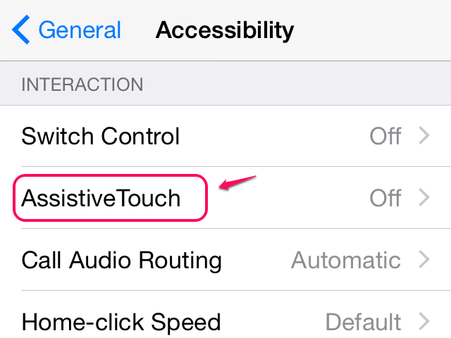 Accessibility options