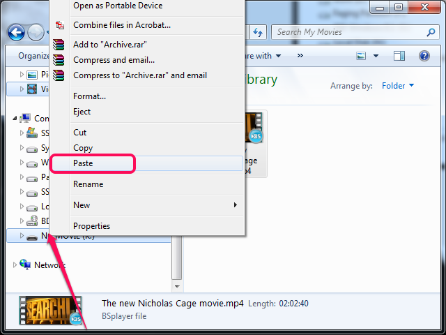 Selecting Paste from the context menu in File Explorer.