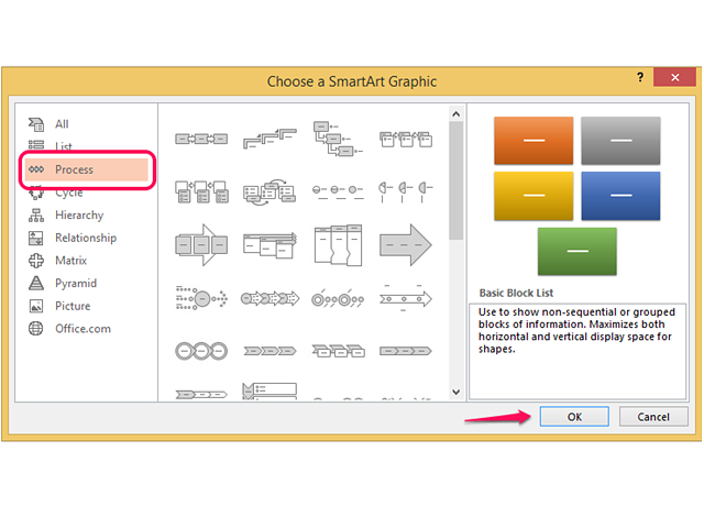Select Process and choose a template from the list.