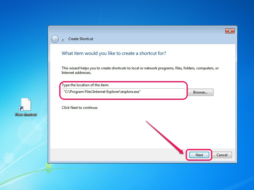 how to add an icon to desktop in windows 7