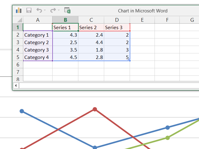 Edit a chart in Word.
