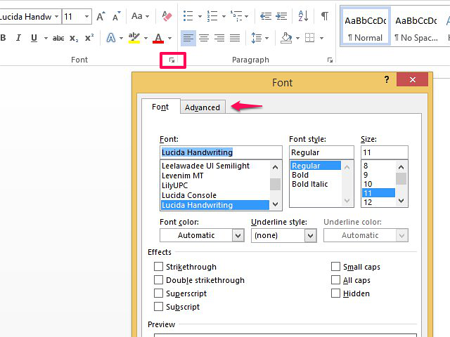 How to format a character in Word