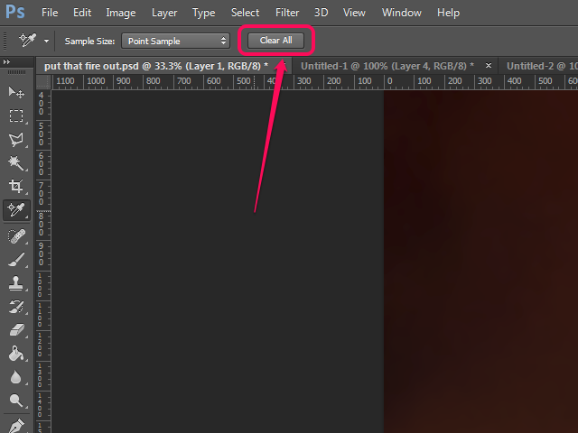 The Options bar in Photoshop, with the Color Sampler tool active.