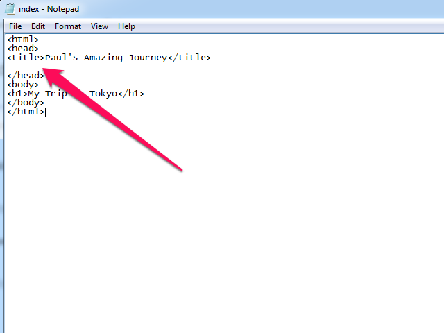 HTML file in Notepad, with blank line in the Head section indicated.